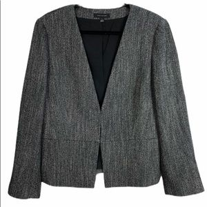 Ann Taylor Grey/Black Tweed-Look Size 14 Blazer